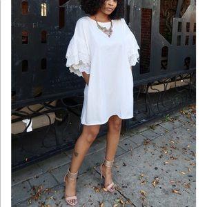 Ruffle Sleeves Shift Dress (White)
